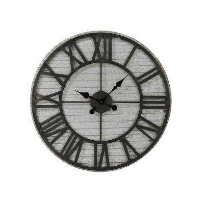 Black and Gray Industrial Tin Wall Clock