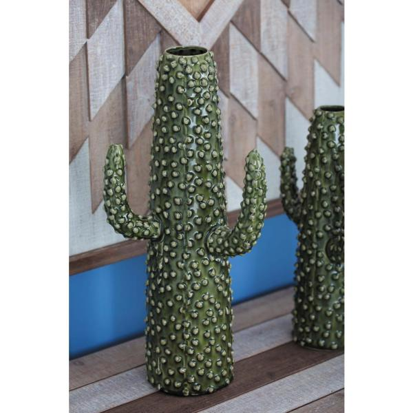 Litton Lane 16 in. Glazed Green Ceramic Cactus-Shaped Decorative Vase