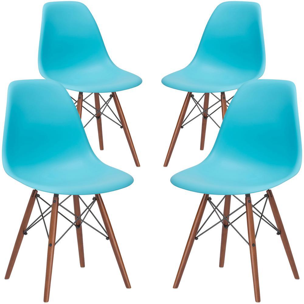 Vortex Aqua Side Chair with Walnut Legs (Set of 4)