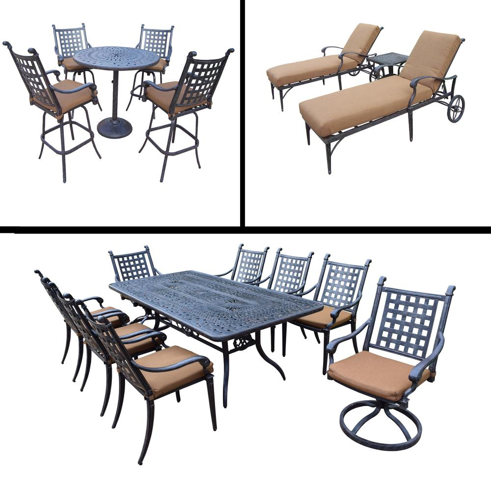 5 Piece Belmont Dining Room Collection: Belmont 17-Piece Aluminum Outdoor Dining Set With