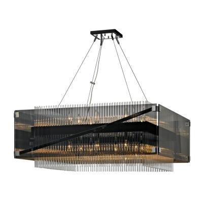 Apollo 16-Light Dark Bronze and Polished Chrome 34 in. W Chandelier with Plated Smoked Glass with Clear Glass Rods