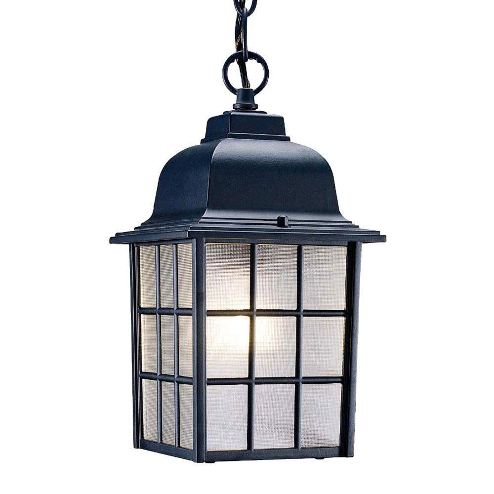 Nautica Collection 1-Light Matte Black Outdoor Hanging Light Fixture