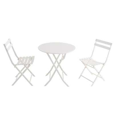 Follie White 3-Piece Steel Outdoor Bistro Set
