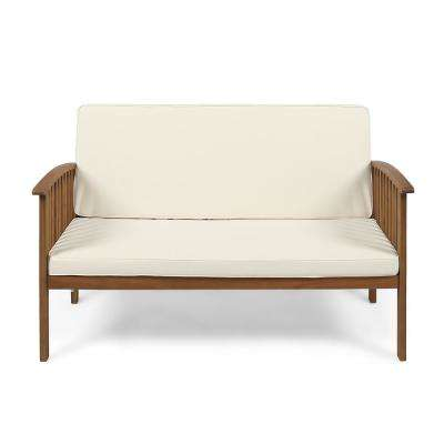 Casa Brown Patina Wood Outdoor Loveseat with Cream Cushions