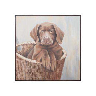 "37 in. x 37 in. ""Chocolate Lab Puppy"" Hand Painted Framed Canvas Wall Art"