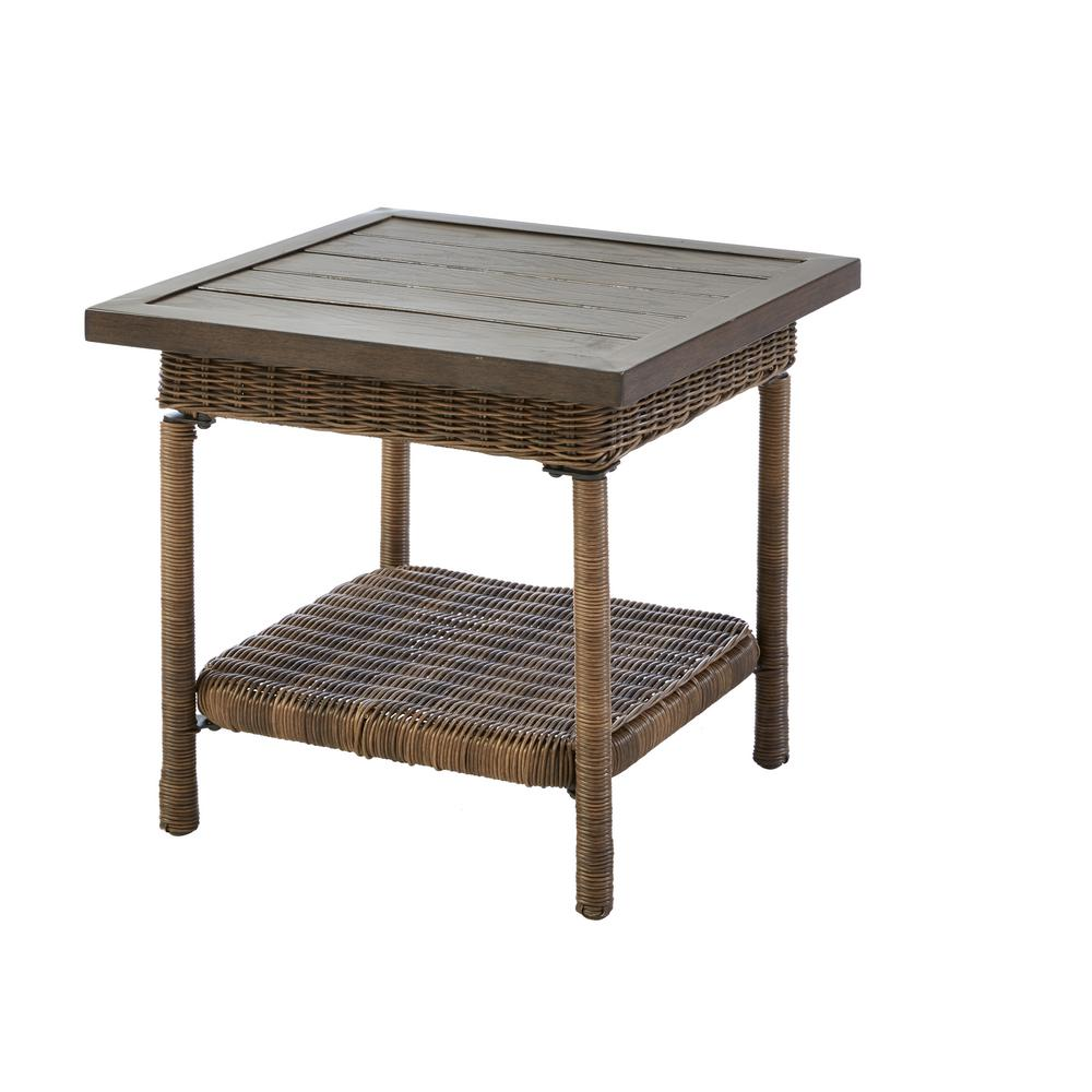 Hampton Bay Beacon Park Steel Wicker Outdoor Accent Table