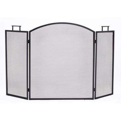 Classic Black Steel 3-Panel Fireplace Screen