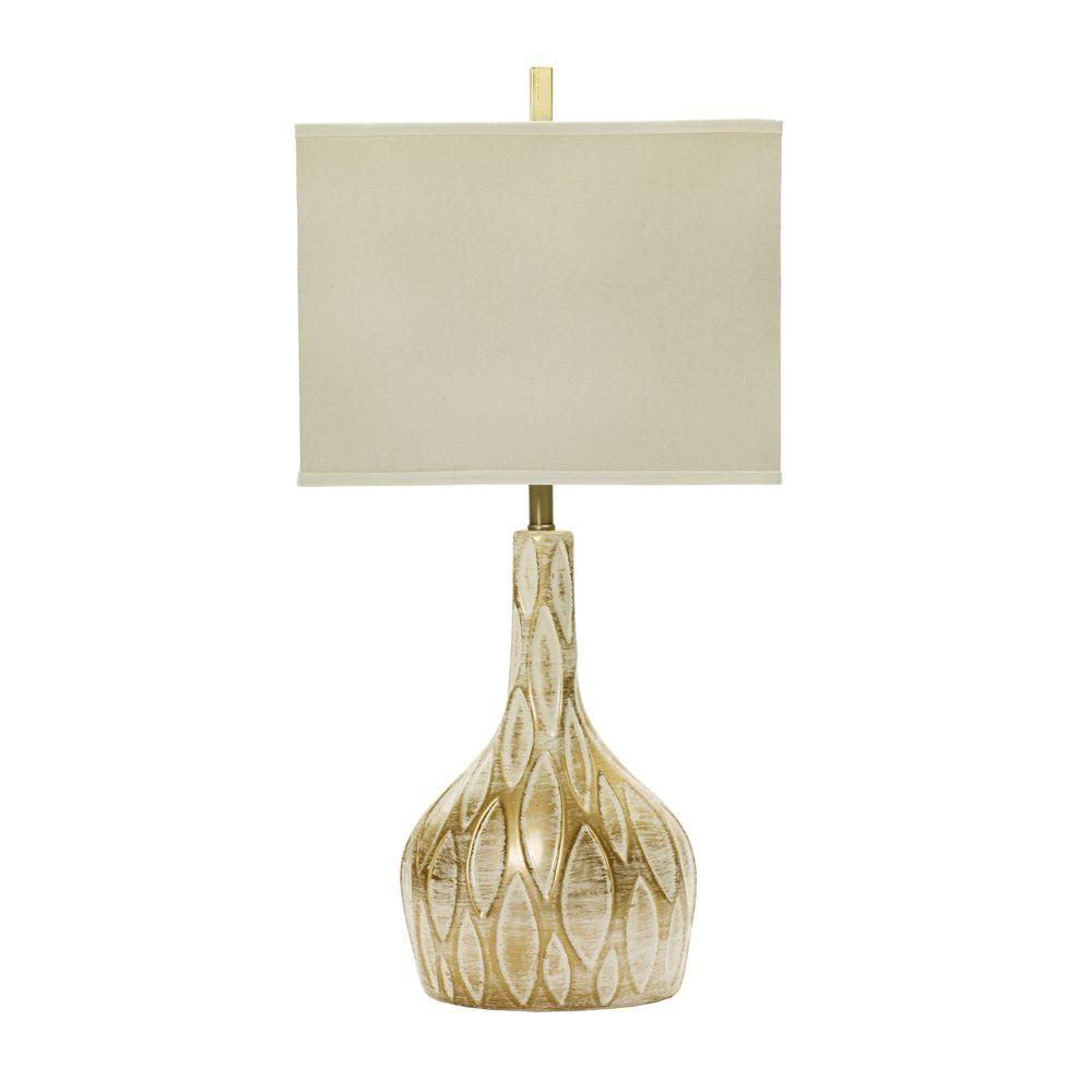 Delightful Fangio Lighting M.r. Lamp And Shadeu0027s 32 In. Brushed Gold Over White  Ceramic Table Lamp