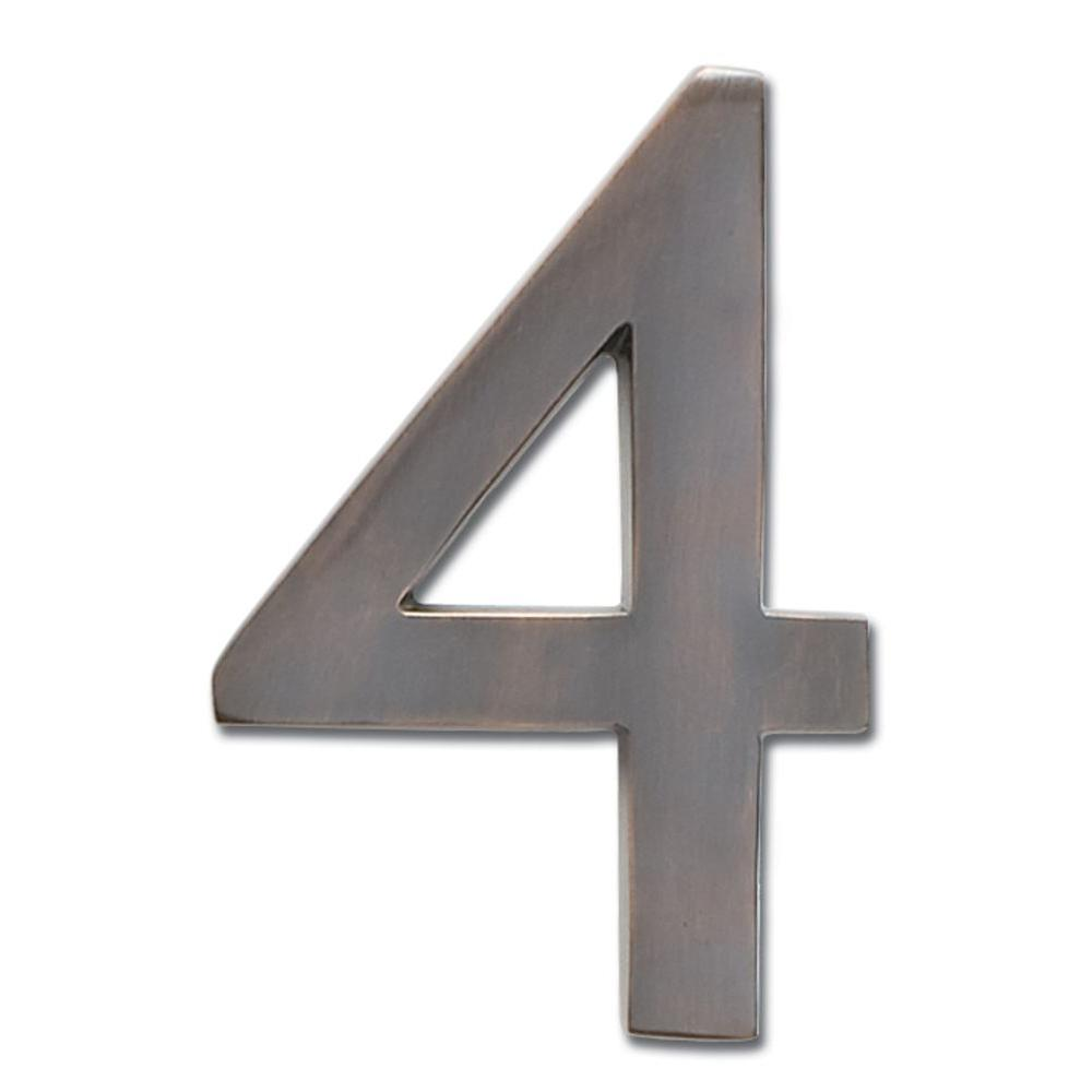 Architectural Mailboxes 4 in. Dark Aged Copper Floating House Number 4