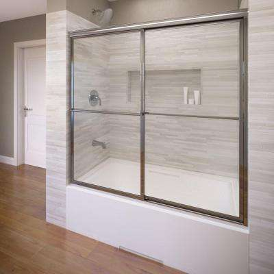 Deluxe 59 in. x 58-1/2 in. Clear Framed Sliding Door in Silver