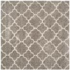 Hudson Shag Gray/Ivory 8 ft. x 8 ft. Square Area Rug