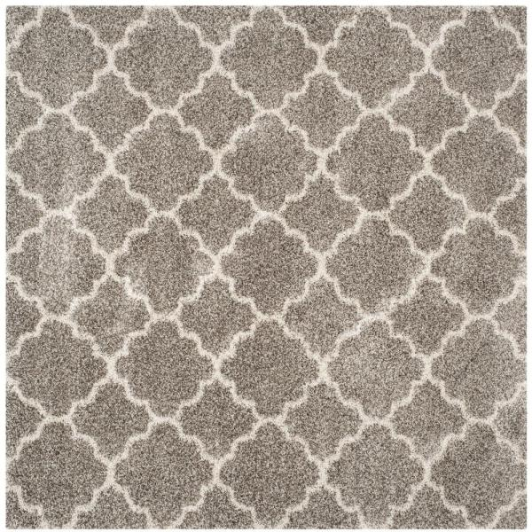 Hudson Shag Gray/Ivory 9 ft. x 9 ft. Square Area Rug