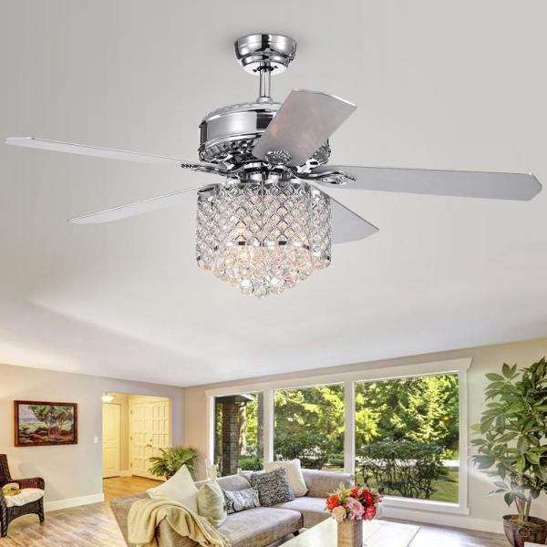 Warehouse Of Tiffany Deidor 5 Blade 52 In Indoor Chrome Remote Controlled Ceiling Fan With Light Kit Cfl 8316remo Ch The Home Depot