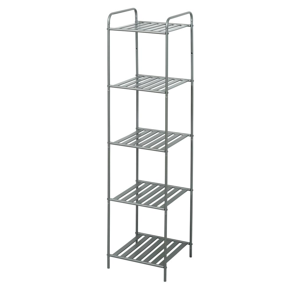 Glacier Bay 13 in. W Bathroom Linen Tower in Satin Nickel with 5 Slatted Shelves