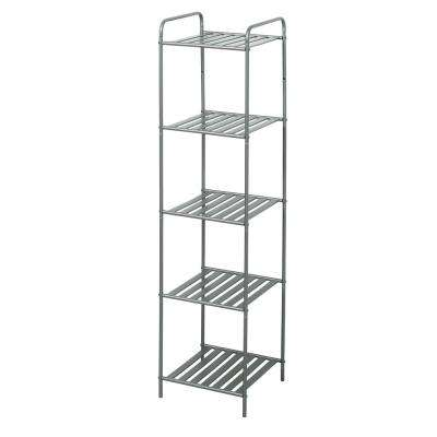 13 in. W Bathroom Linen Tower in Satin Nickel with 5 Slatted Shelves