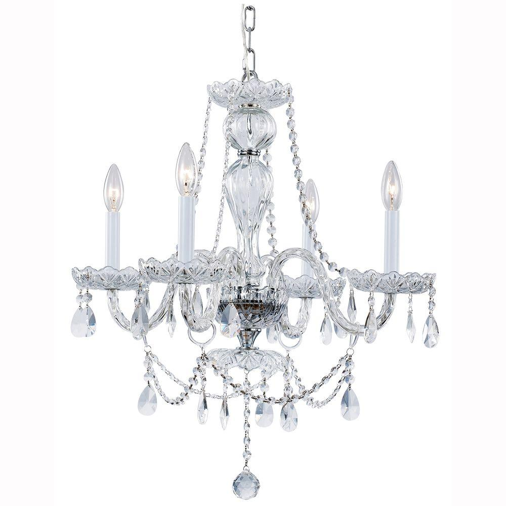 Hampton bay lake point 4 light chrome and clear crystal chandelier hampton bay lake point 4 light chrome and clear crystal chandelier arubaitofo Gallery