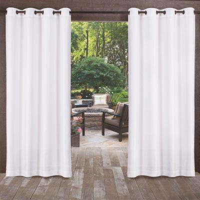 Biscayne 54 in. W x 120 in. L Indoor Outdoor Grommet Top Curtain Panel in White (2 Panels)