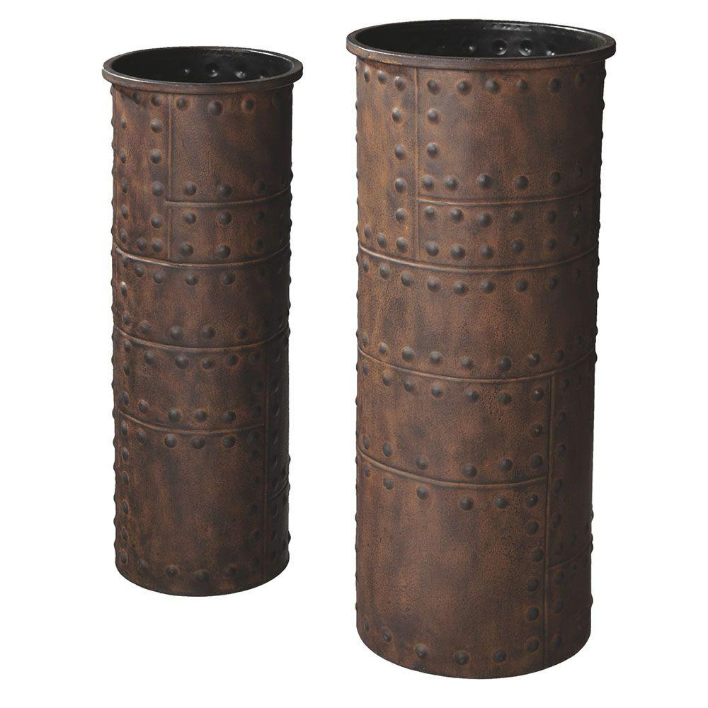Filament Design Sundry 23 in. Metal Decorative Vases in Rust (Set of 2)