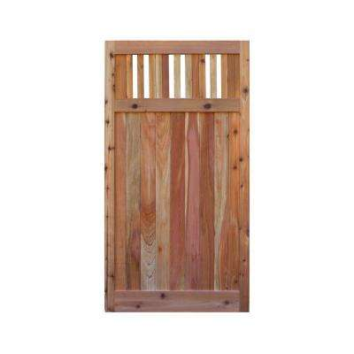 3 ft. x 6 ft. Western Red Cedar Flat Top Vertical Lattice Fence Gate