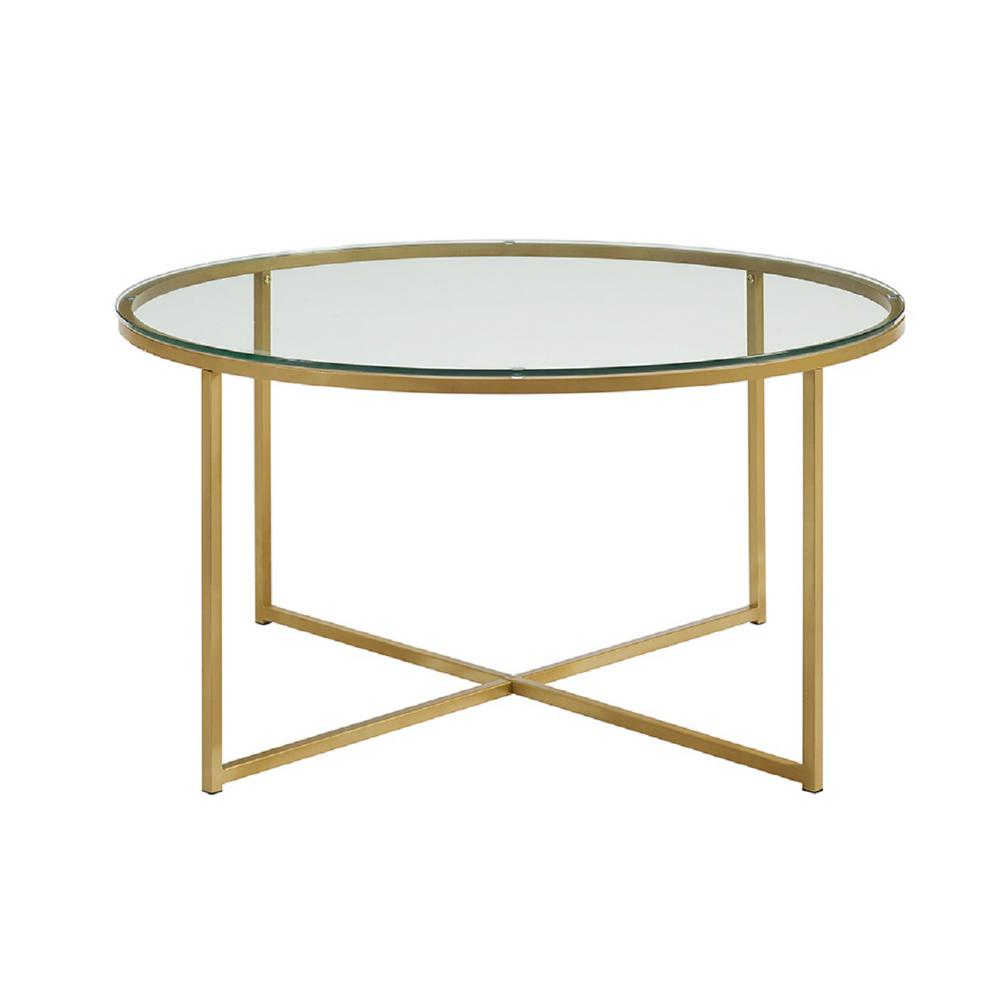 Exceptionnel Walker Edison Furniture Company 36 In. Glass/Gold Coffee Table With X Base