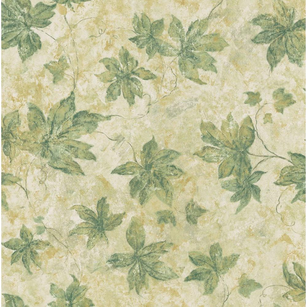 Brewster 56 sq. ft. Leaf Print Wallpaper-DISCONTINUED