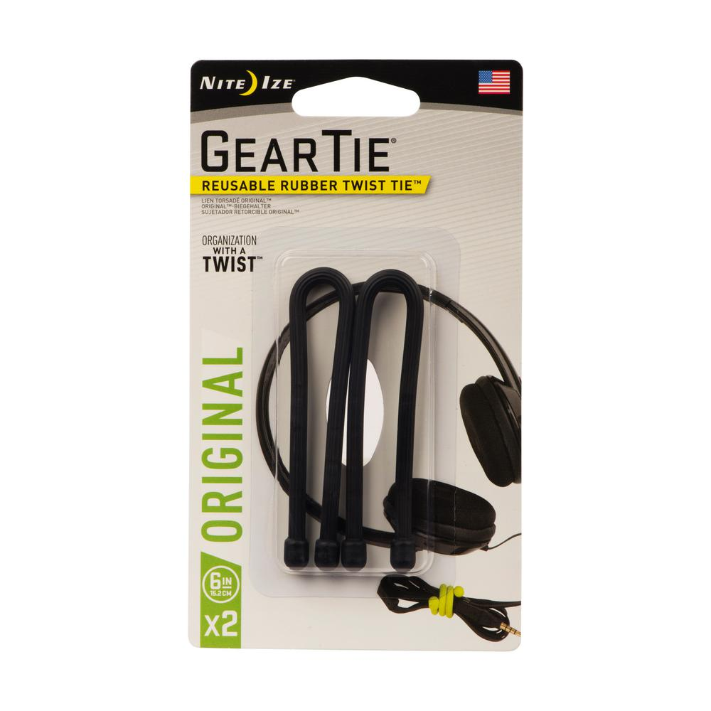 6 Count Pro Pack Reusable Rubber Twist Tie 32-Inch Made in the USA Black Nite Ize Original Gear Tie