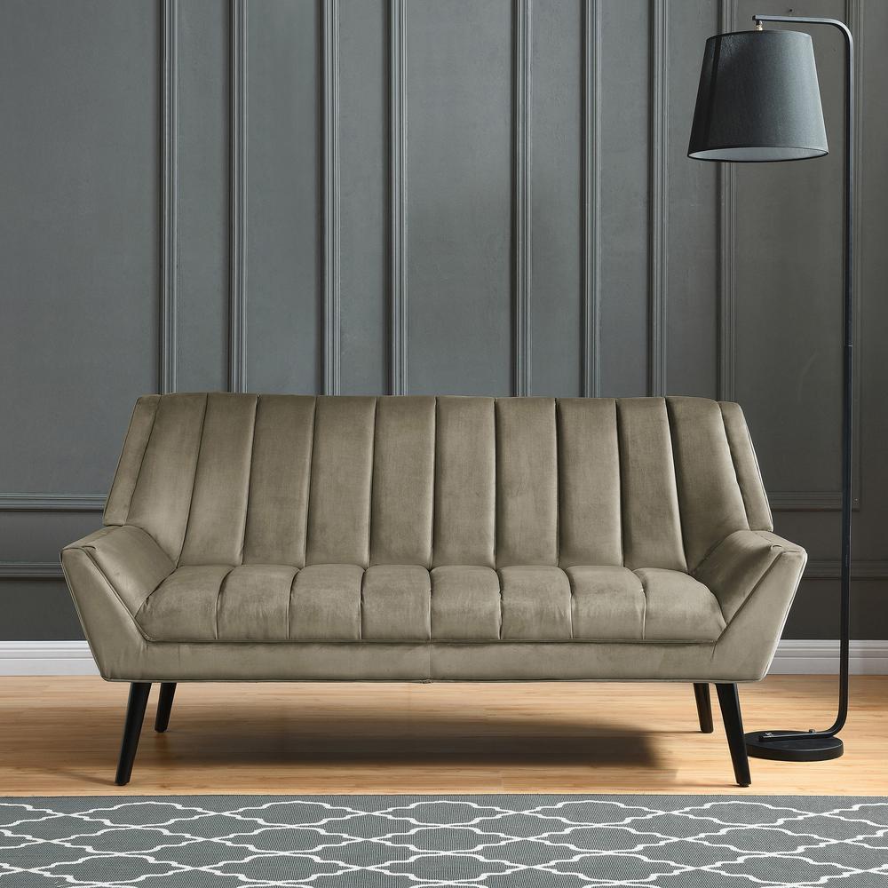 Gray Velvet Mid Century Modern Arm Sofa