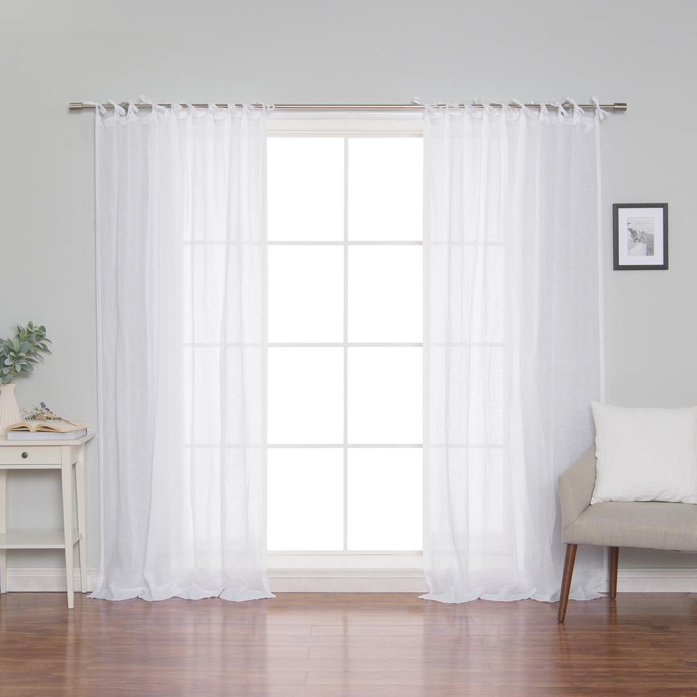 Best Home Fashion White Linen Gauze Tie Top Curtain Panel 52 in. x