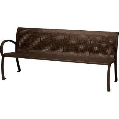 Tranquil 6 ft. Perforated Patio Bench with Back in Hazel Nut