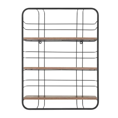 24 in. H x 18 in. W x 6 in. D StyleWell Wood and Black Metal Wire Wall-Mount Bookshelf