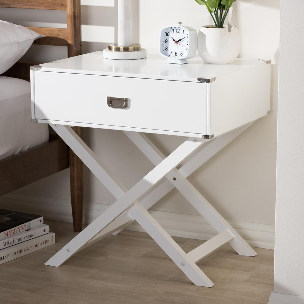 Curtice 1-Drawer White Nightstand