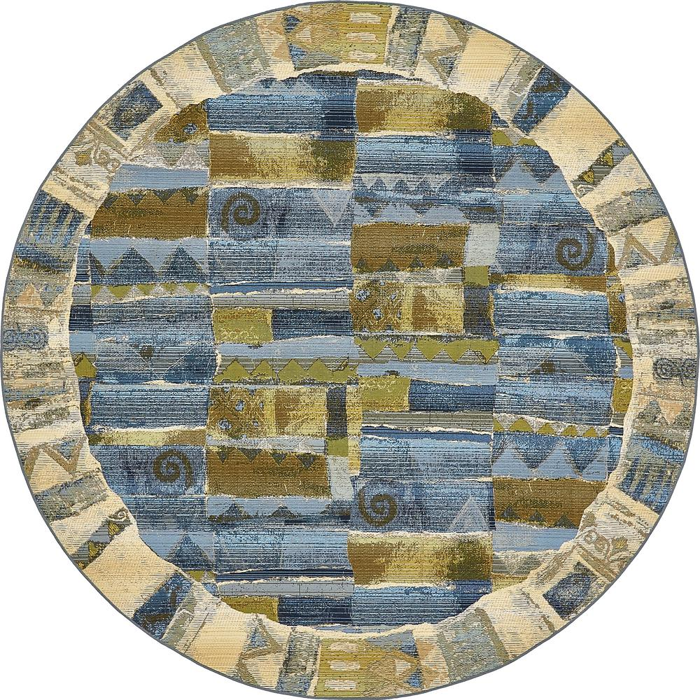 Outdoor Modern Blue 8' x 8' Round Rug