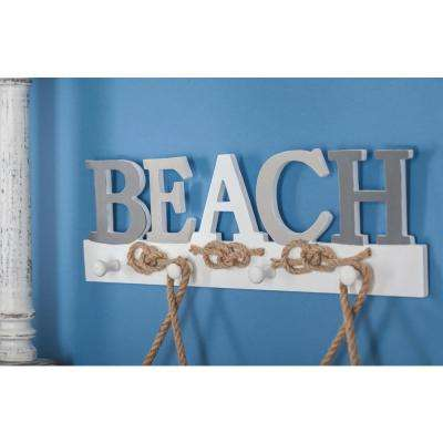 "18 in. x 6 in. Coastal Living Wood and Metal ""BEACH"" Wall Hook"