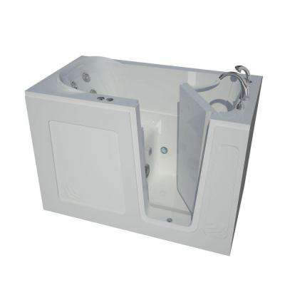 HD Series 54 in. Right Drain Quick Fill Walk-In Whirlpool Bath Tub with Powered Fast Drain in White
