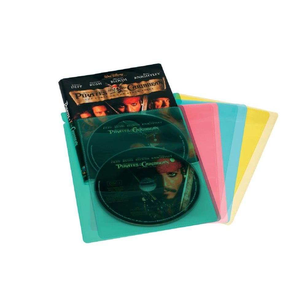 Atlantic Media Living 20 Colored Blue Red Yellow and Green DVD Movie Sleeves - DISCONTINUED