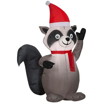 Tethers Raccoon Christmas Inflatables Outdoor Christmas Decorations The Home Depot