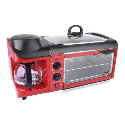 Red Countertop Breakfast Combo Toaster Oven