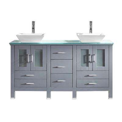 Bradford 60 in. W Bath Vanity in Gray with Glass Vanity Top in Aqua Tempered Glass with Square Basin and Faucet