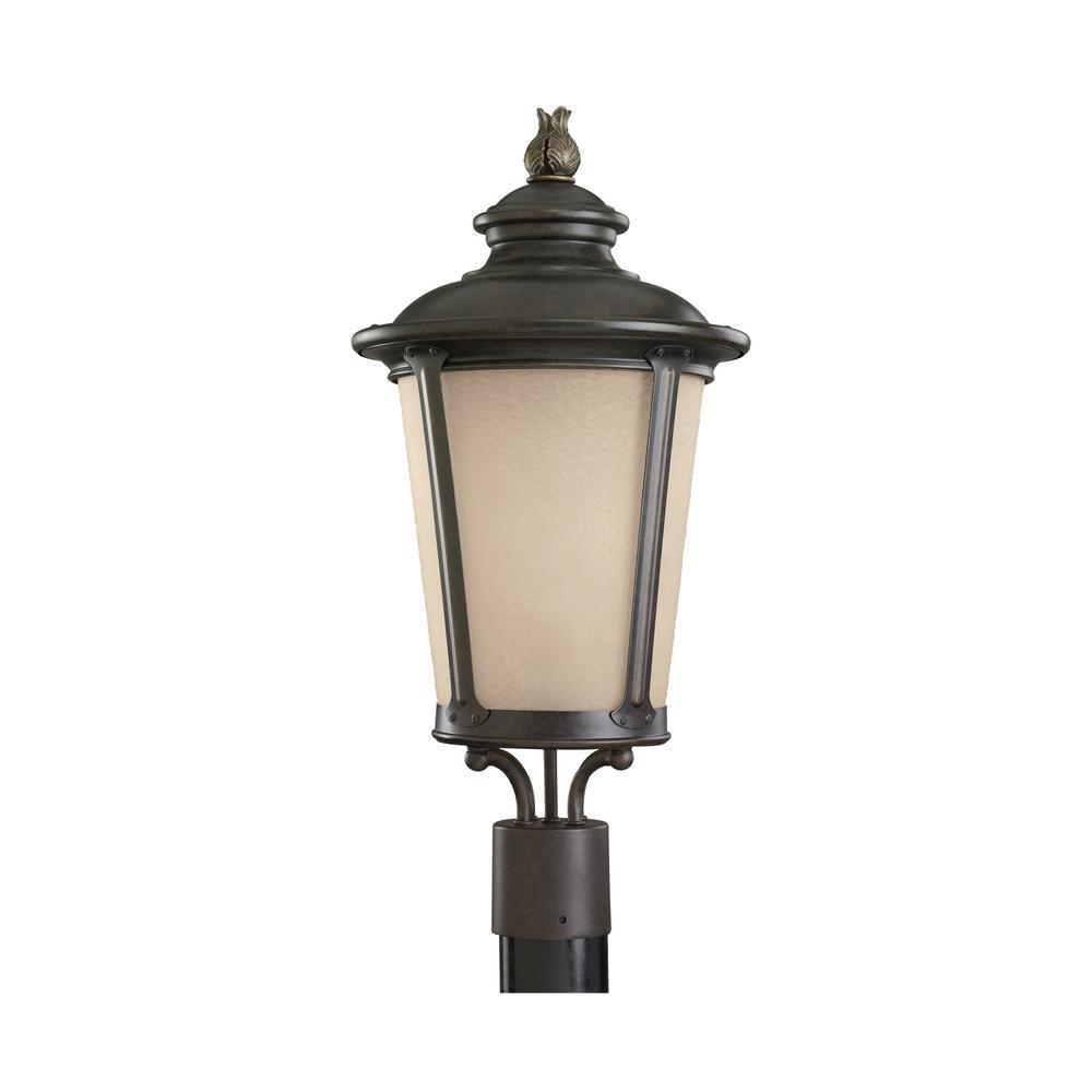 Cape May 1-Light Outdoor Burled Iron Post Light
