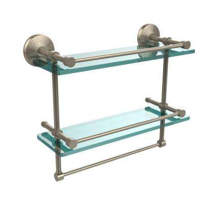 Monte Carlo 16 in. L  x 12 in. H  x 5 in. W 2-Tier Clear Glass Bathroom Shelf with Towel Bar in Antique Pewter