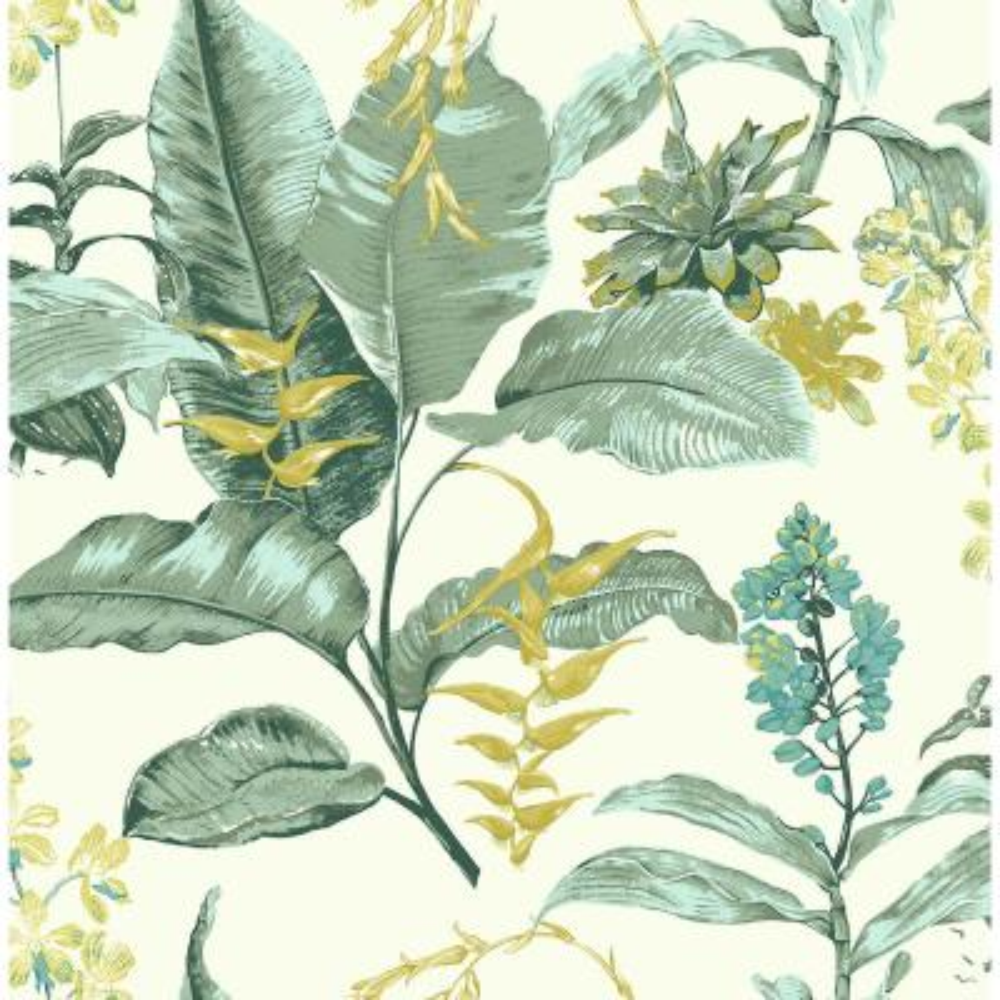 Maui Green Botanical Wallpaper Sample