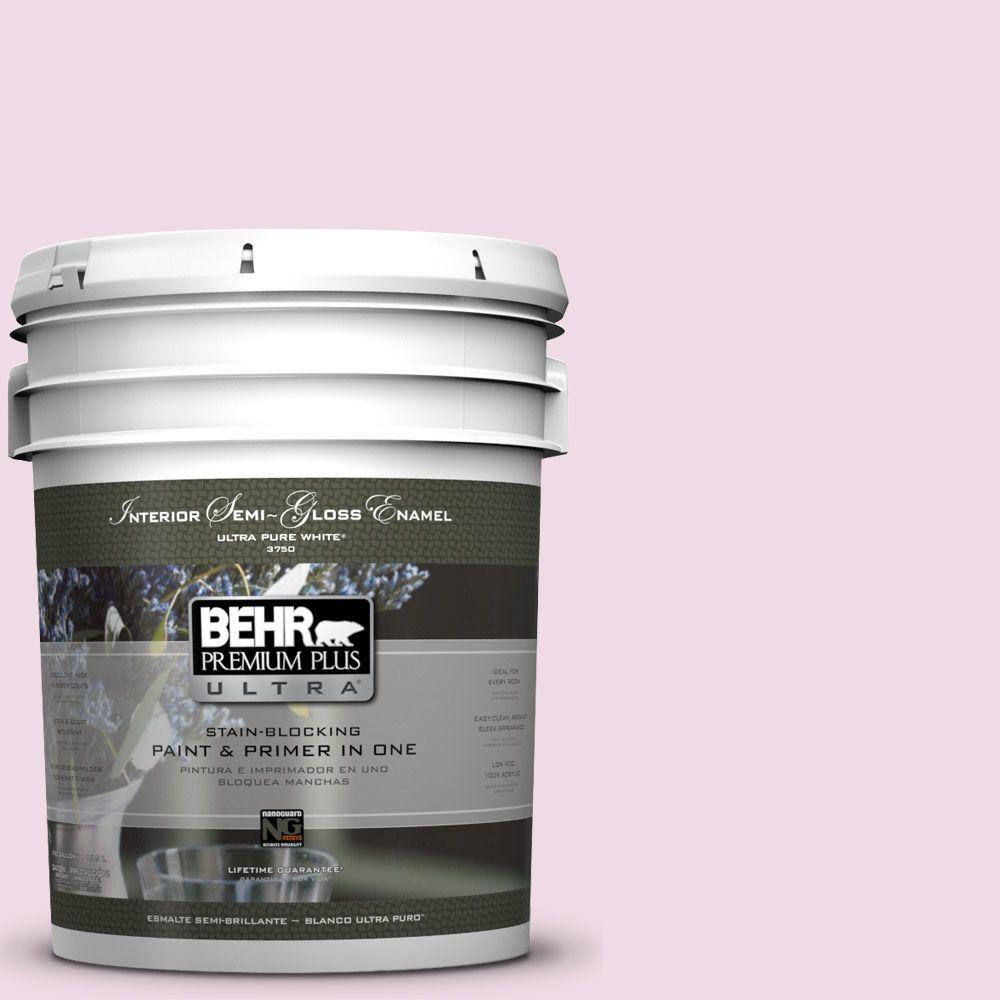 5-gal. #M130-1 Pink Posies Semi-Gloss Enamel Interior Paint