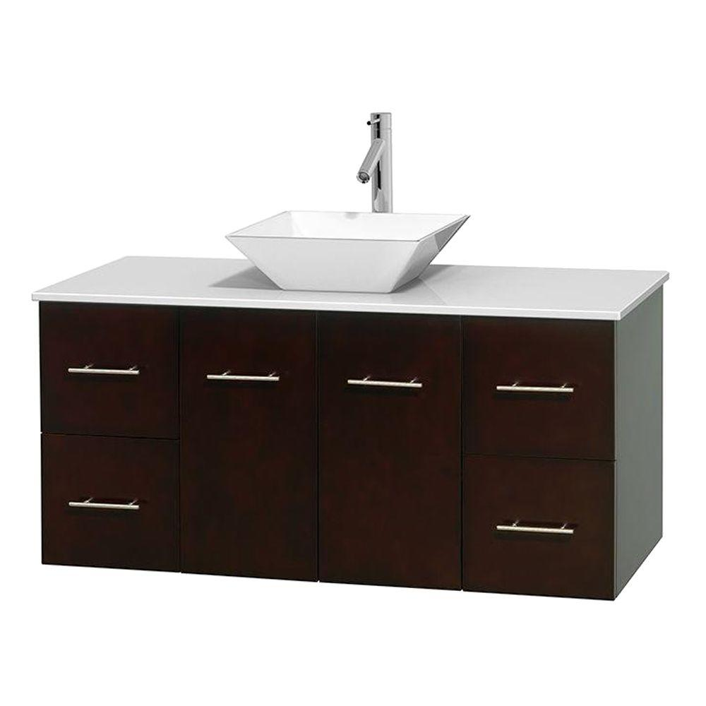 Solid Surface Vanity Tops With Sink : Wyndham collection centra in vanity espresso with