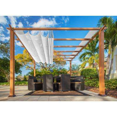 Paragon 11 ft. x 11 ft. Aluminum Pergola with the Look of Canadian Cedar Wood and Creme Color Convertible Canopy