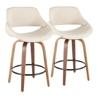 Fabrico 26 in. Walnut and Cream Fabric Counter Stool with Black Footrest (Set of 2)
