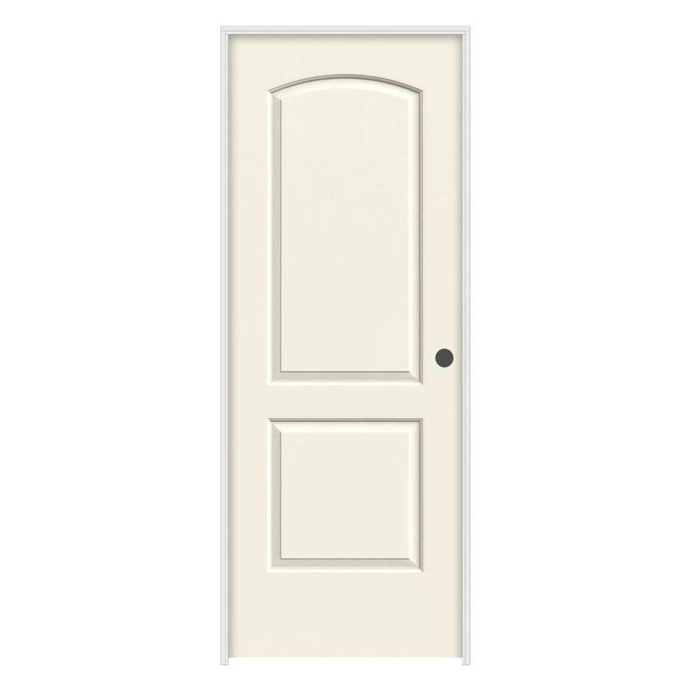JELD-WEN 36 in. x 80 in. Continental Vanilla Painted Left-Hand Smooth Molded Composite MDF Single Prehung Interior Door