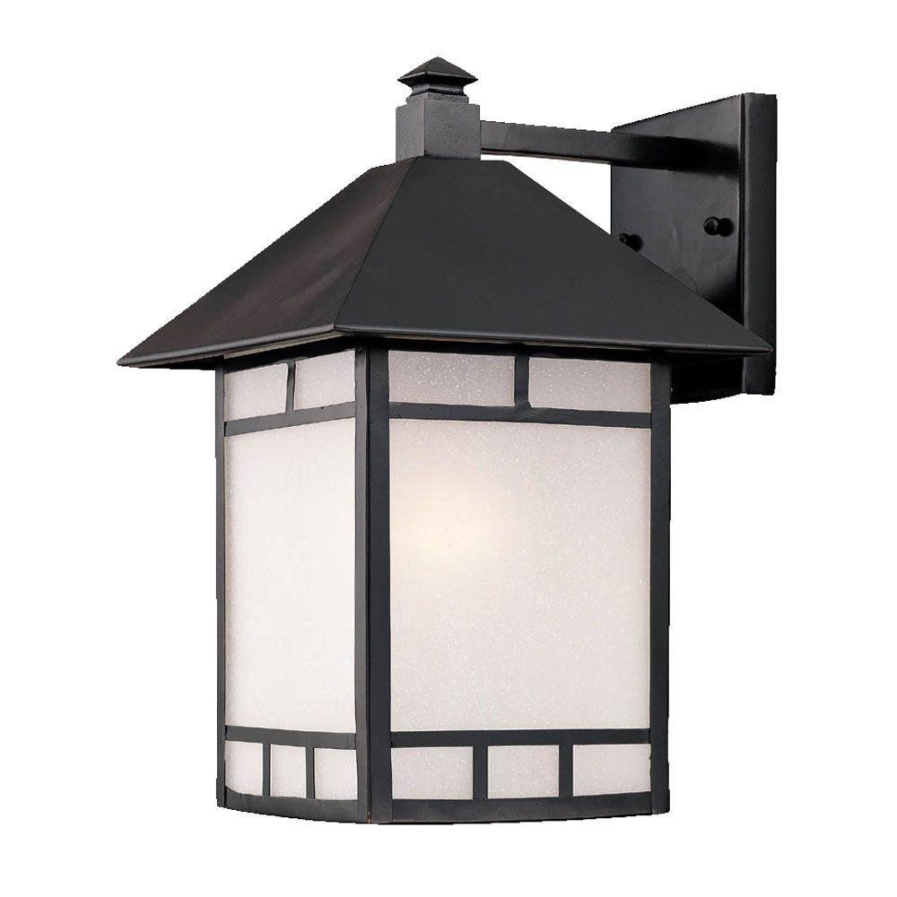Artisan Collection 1-Light Matte Black Outdoor Wall Lantern Sconce