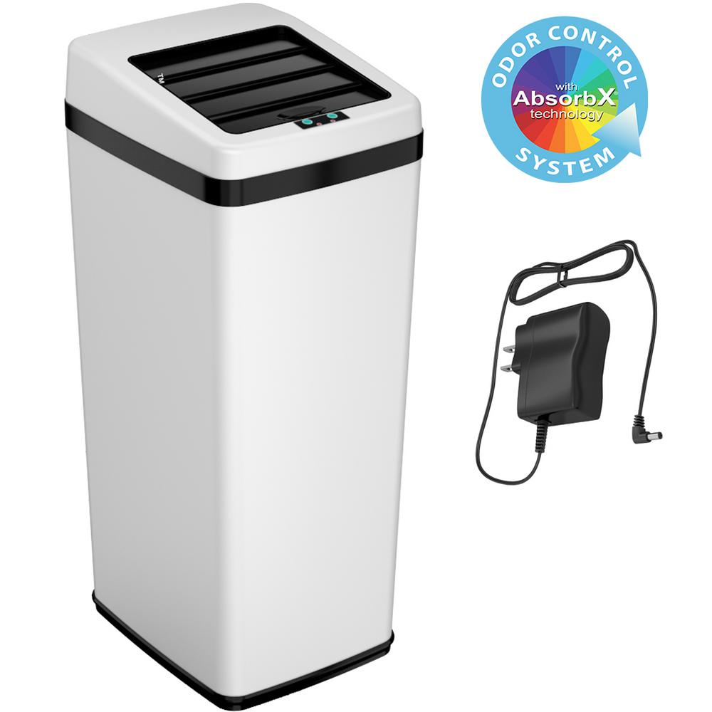 iTouchless 14 Gal. White Sliding-Lid Motion Sensing Touchless Trash Can