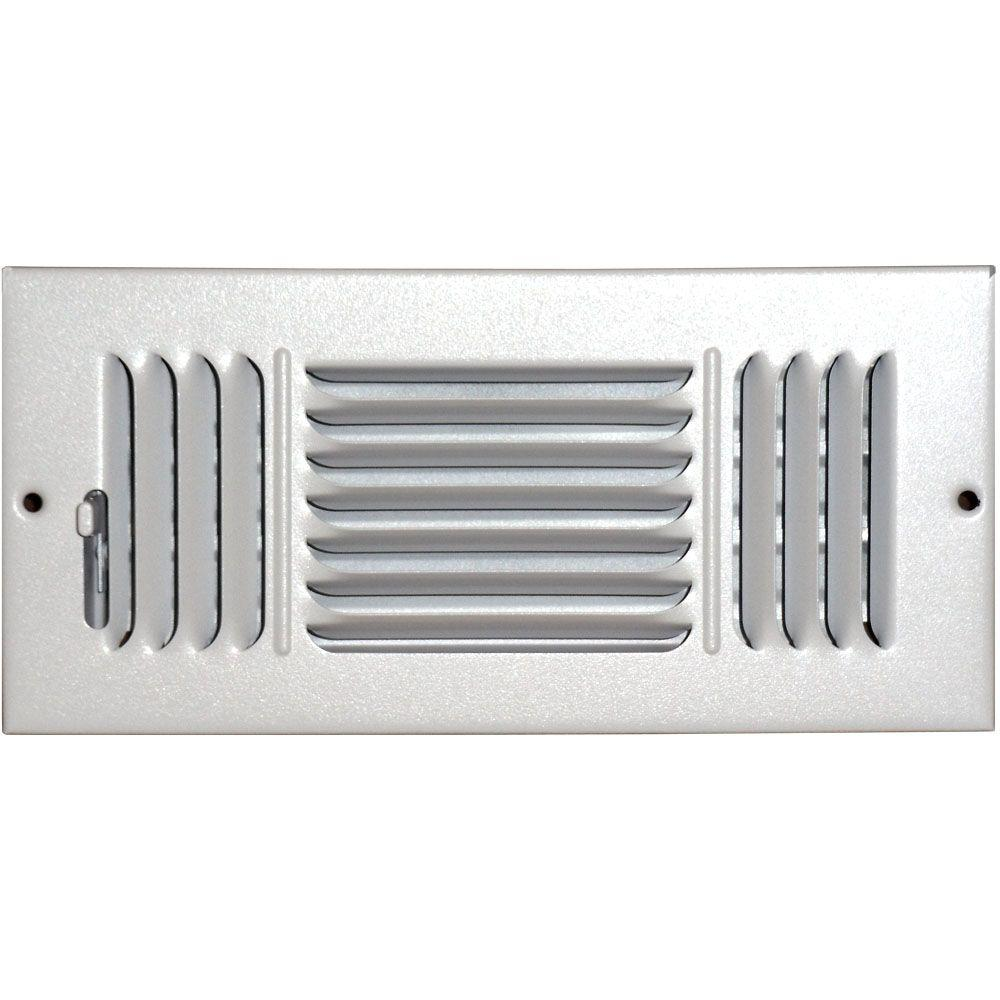 SPEEDI-GRILLE 4 in. x 8 in. Ceiling/Sidewall Vent Register, White with 3-Way Deflection