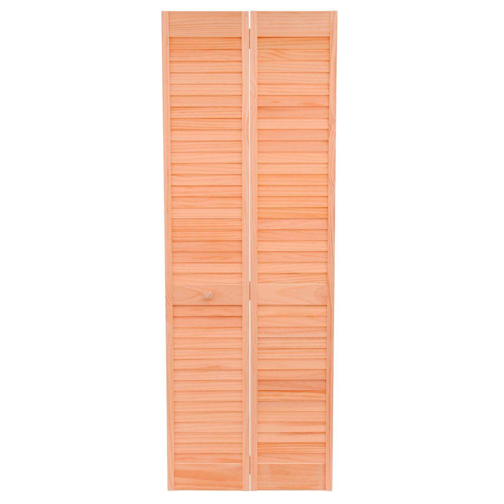 28 in. x 80 in. Louver/Louver Stain Ready Solid Wood Interior